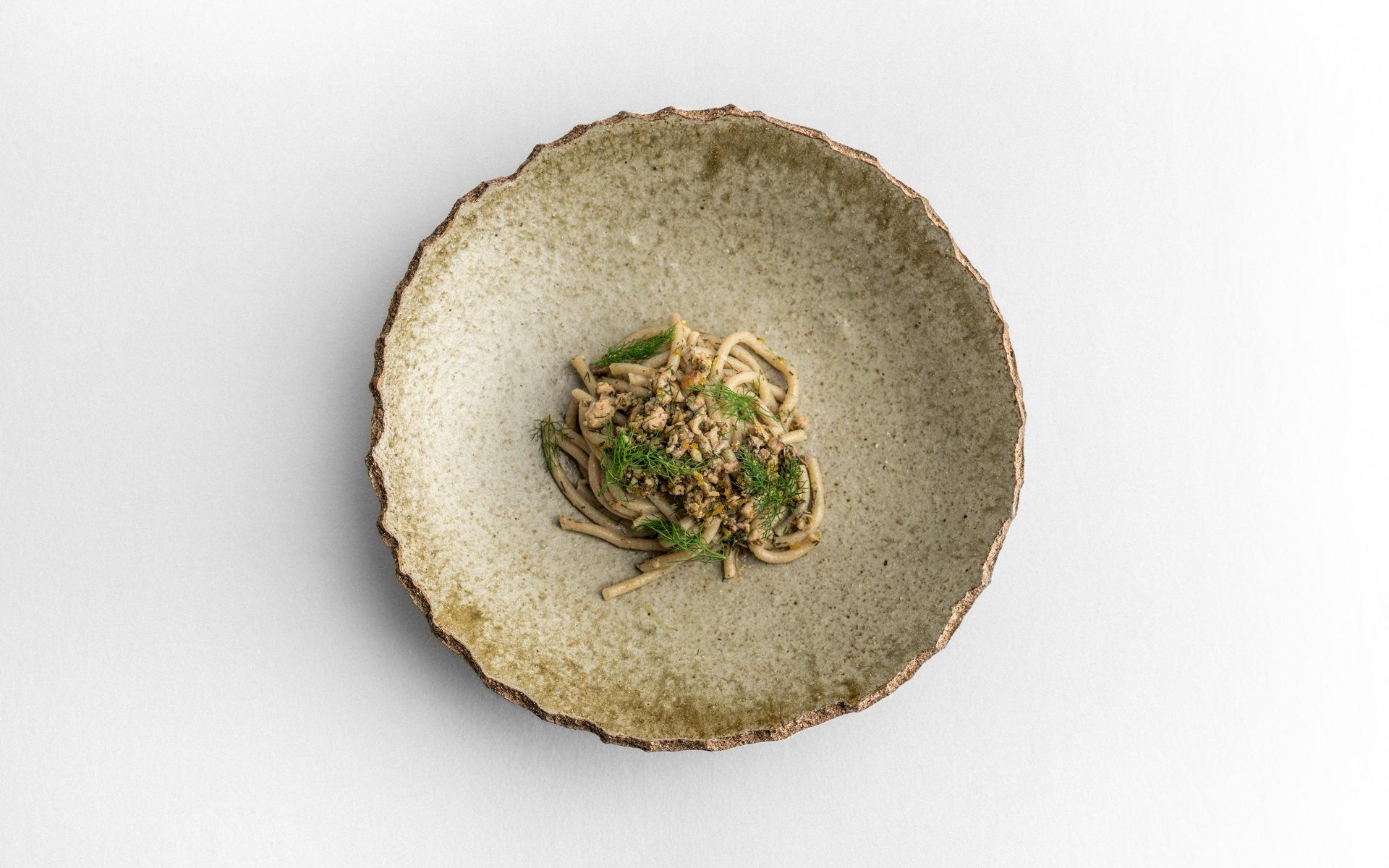 Pici grano Senatore Cappelli Podere San Bartolomeo con ragù di coniglio in porchetta, infoodfamily